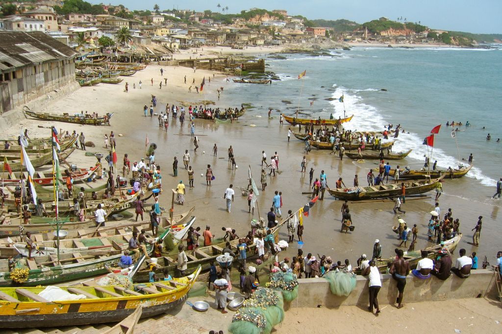 Fishing boats in front of Cape Coast Castle, Ghana