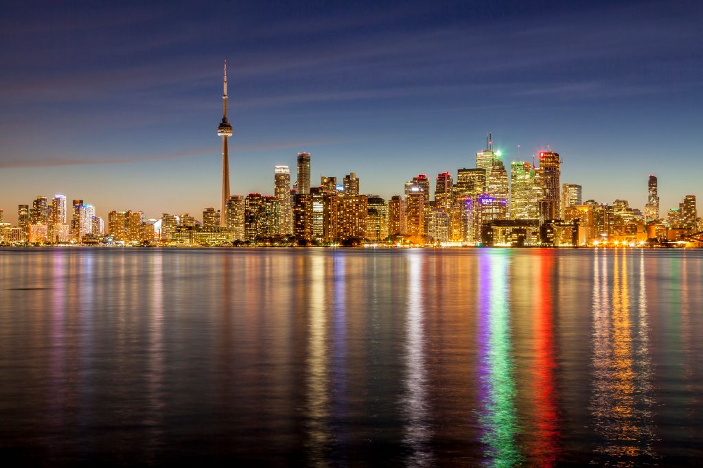 Toronto, Ontario skyline as seen from Algonquin Island - one of the Toronto Islands