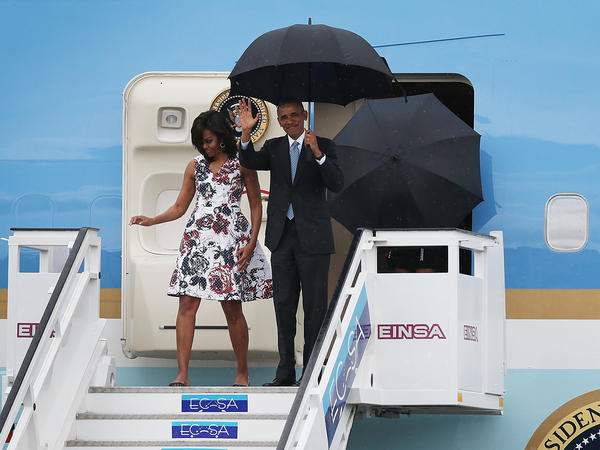 First Lady Michelle Obama and President Barack Obama Arrive In Cuba On Air Force One