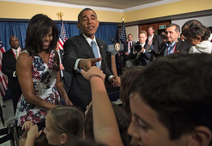President Barack Obama Greets The Press In Cuba