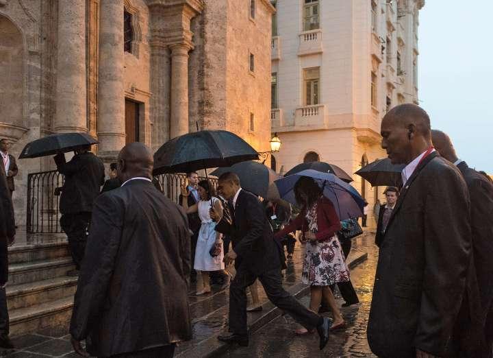 Obama Arrives In Old Havana In The Rain