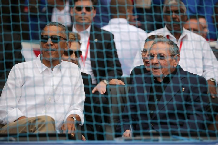 President Obama And President Castro Talk At An Exhibition Baseball Game