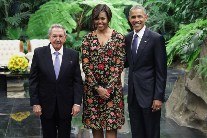 President Castro with first lady Michelle Obama and President Barack Obama