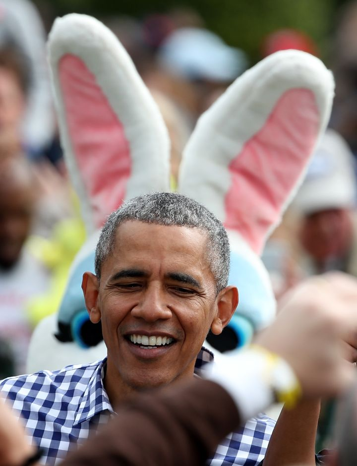 "President Obama ""With Bunny Ears"" At The 2016 White House Easter Egg Roll."