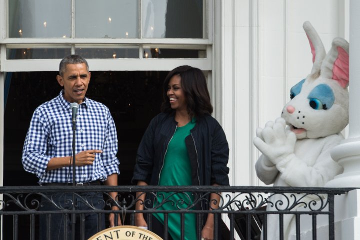 Michelle And Barack Obama Greet Guests With The Easter Bunny.