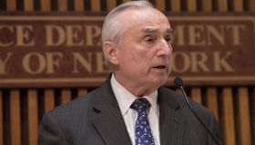 NYPD Commissioner William Bratton speaks to the press.