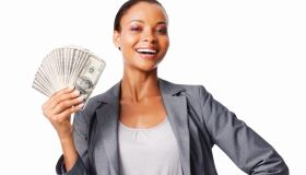 Woman Holding Dollars - Isolated