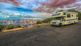 RV making stop in the heights of the Grand Canyon