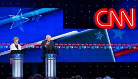 Hillary Clinton and Bernie Sanders at CNN during the...