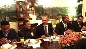 Members of My Brother's Keeper Program Have Lunch with President Obama at The White House