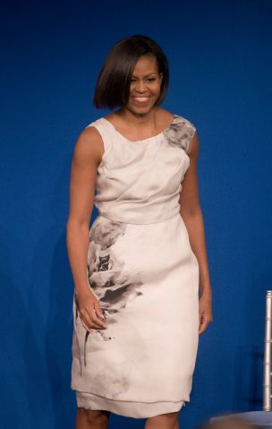 Michelle Obama presentes her 2009 inaugural gown to the...