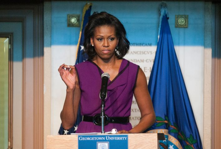 First Lady Michelle Obama speaks to High School Students...