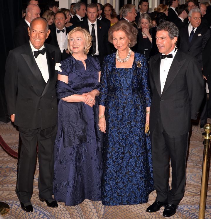 Hillary Clinton With Oscar de la Renta and Antonio Banderas