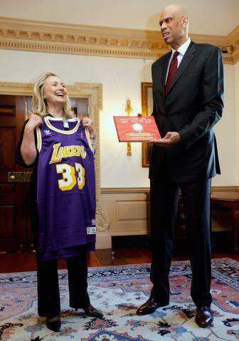 Hillary Clinton Meets With Cultural Ambassador Kareem Abdul Jabbar At State Dept.