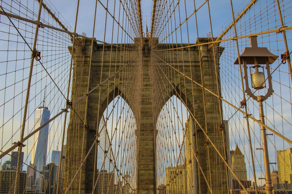 Low Angle View Of Brooklyn Bridge Against Sky