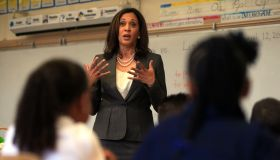 LOS ANGELES, CALIFORNIA, AUGUST 12, 2014: State Attorney General Kamala Harris talks to students ab