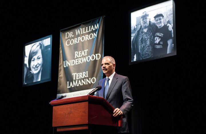 Eric Holder Attends Memorial Service For Victims Of Kansas Shootings