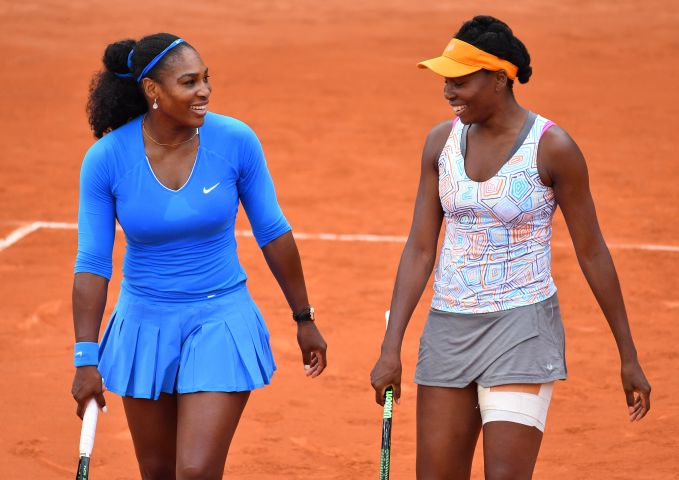 2016 French Open first round match - Serena Williams and Venus Williams