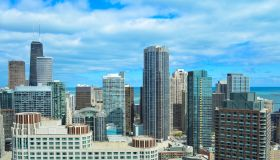 Chicago skyline with skyscrapers, John Hancock center and lake Michigan in Illinois, USA