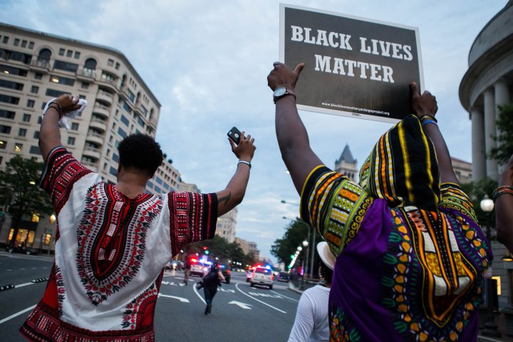 Activists At The White House Protest Shooting Deaths Of Two Black Men By Police