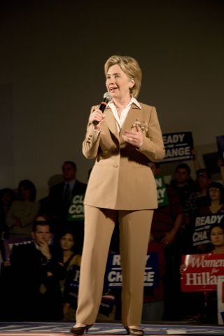 U.S. Senator, Former First Lady and Presidential Candidate, Hillary Clinton, speaking at rally after Iowa Democratic Presidential Debate, Drake University, Des Moines, Iowa, August 19, 2007