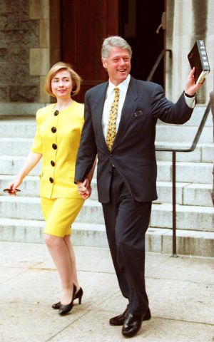 US President Bill Clinton and First Lady Hillary w