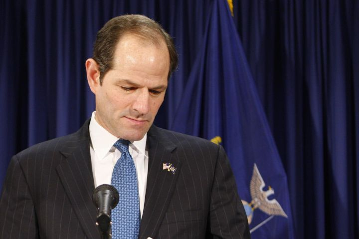 Eliot Spitzer, New York governor, flanked by his wife Silda