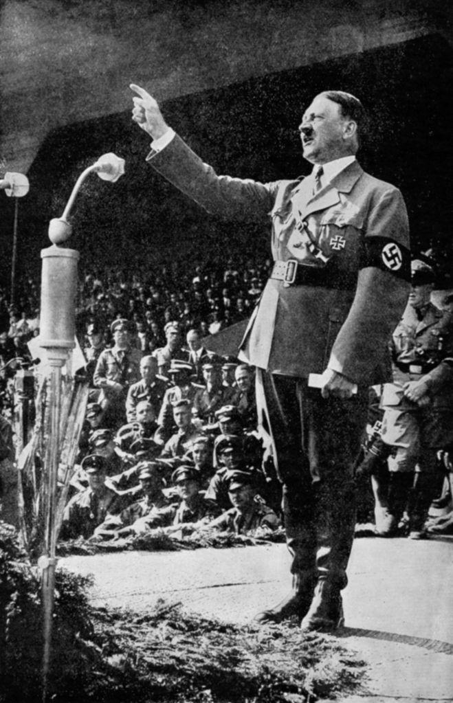 Adolph Hitler addressing a rally