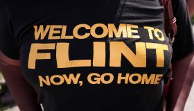 Protesters Demonstrate Against Donald Trump's Visit To Flint Michigan
