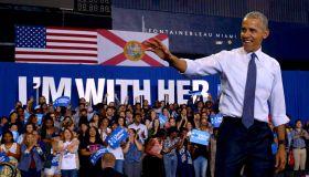 President Barack Obama Campaigns For Hillary Clinton In Miami, Florida