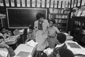 Teacher and Students in Chicago Inner City School
