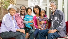 Multi generation African American family smiling, portrait
