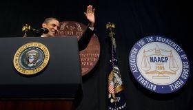 US President Barack Obama waves before s