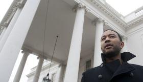 Singer John Legend speaks to the media w