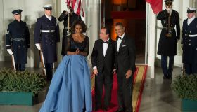 President Francois Hollande of France arrives for a State Dinner at the White House in Washington, DC