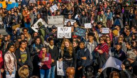 About a thousand students at New York University walked out...