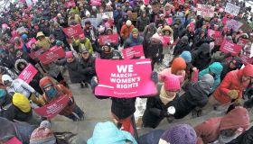 Pro-choice demonstrators brave winter storm