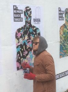 Artist painting target