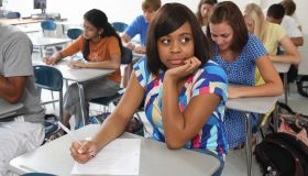 High school students taking test