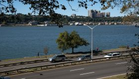 Henry Hudson Parkway looking over the Hudson River to New jersey