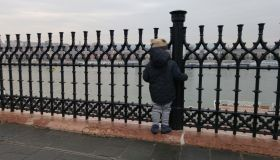 Rear View Of Boy Standing By Fence At Promenade