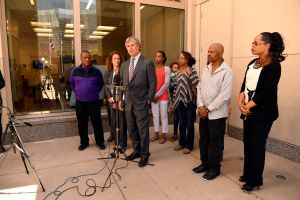 press conference in front of the Van Cise-Simonet Detention Center