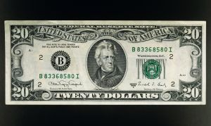 20 dollars banknote...