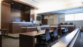 Empty wood paneled courtroom