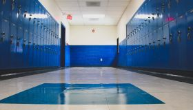 Blue Lockers In School