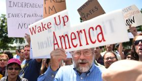 WASHINGTON, DC - MAY 10: A protest is held outside White House