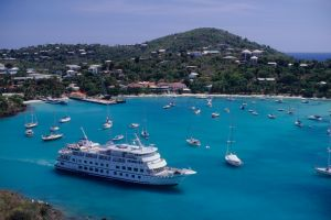 Us Virgin Island, St. Johns, Aerial View Of Cruz Bay, Cruise...