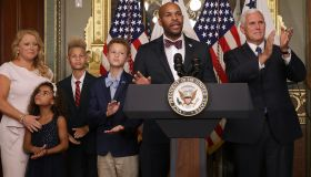 Vice President Pence Swears In New Surgeon General Dr. Jerome Adams