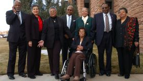 (HR) ABOVE: Eight of the nine members of the LIttle Rock Nine posed for photographers outside Congregation Emanuel before the interfaith service. They are from left to right: Terrence Roberts Carlotta Walls LaNier , Minnijean Brown Trickey J