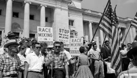 White segregationist demonstrators protesting at the admission of the Little Rock Nine, to Central High School, 1959. The Little Rock Nine were a group of nine African American students enrolled in Little Rock Central High School in 1957. Their enrol